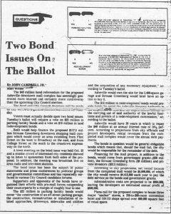 "John Campbell Jr, ""Two Bond Issues on the Ballot."" Asheville Citizen, November 1, 1980"